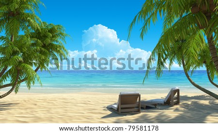 Two beach chairs on idyllic tropical white sand beach. Shadow from the palm trees. No noise, clean, extremely detailed 3d render. Concept for holidays, spa, resort design. - stock photo