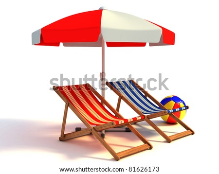 two beach chairs under sunshade 3d illustration - stock photo