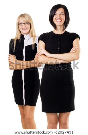 Two beautiful businesswoman against white background - stock photo