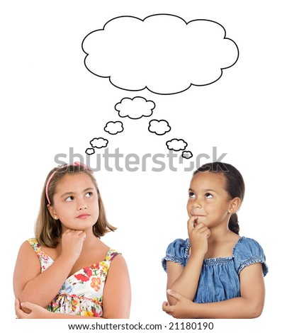 Two beautiful girls thinking a over white background - stock photo