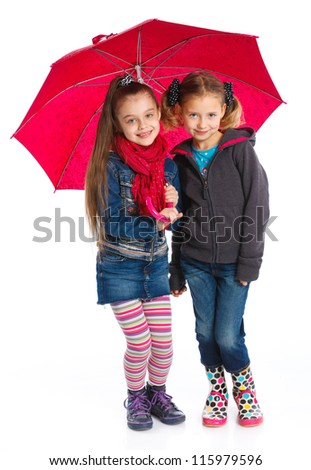 Two beautiful girls with umbrella. Isolated on white background