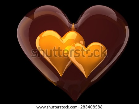 two beautiful glossy hearts inside glass heart - stock photo