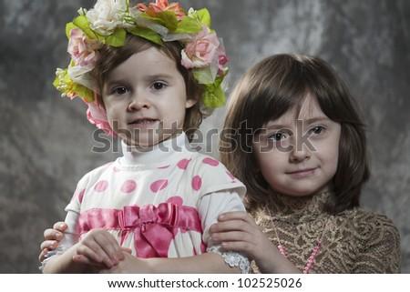 two beautiful little girls - stock photo