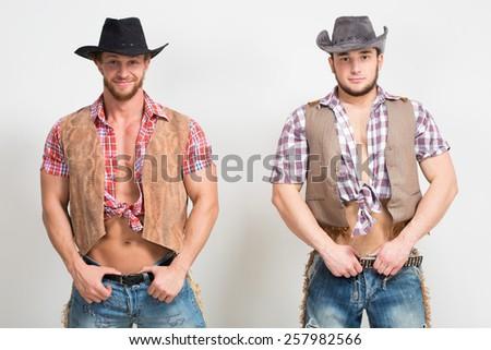 two beautiful men cowboy.  - stock photo