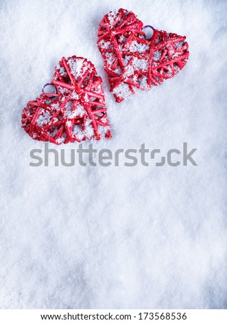 ... snow background. Love and St. Valentines Day concept. - stock photo