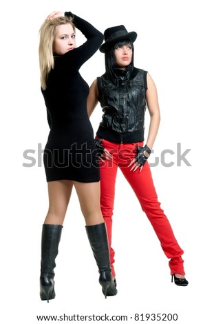 Two beautiful sexual girls pose on white background, is insulated - stock photo