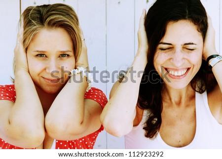 two  beautiful woman - stock photo