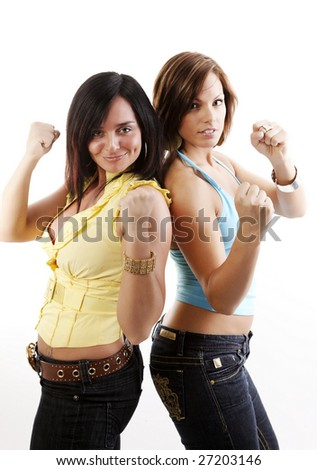 two beautiful woman ready for a friendly battle on a white background