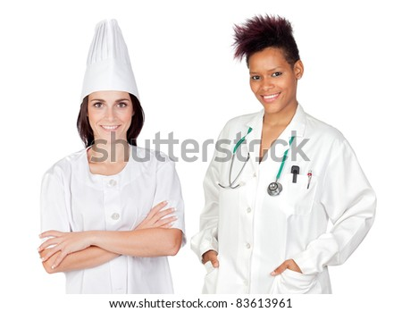 Two beautiful workers women on a over white background - stock photo