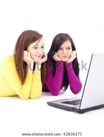 two beautiful, young - stock photo