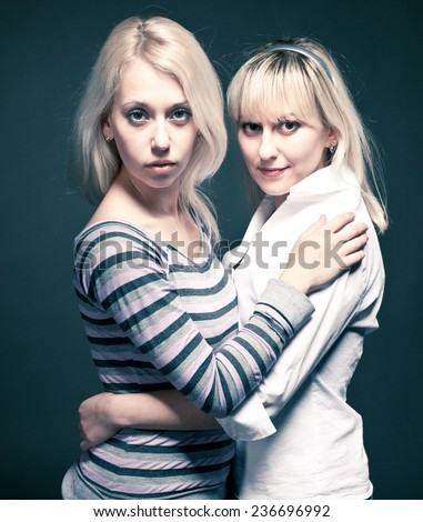 Two beautiful young friend girl happiness - stock photo