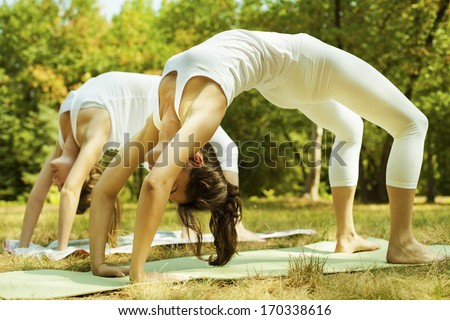 Two beautiful young women doing yoga class in nature. - stock photo