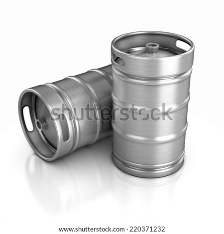 two beer kegs 3d illustration - stock photo