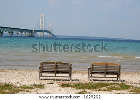 Two benches and one bridge - stock photo