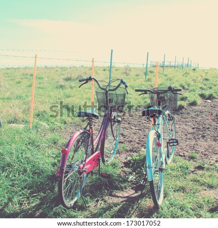 Two bicycles with retro filter effect - stock photo