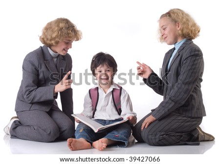 Two big sister in school uniform and little boy