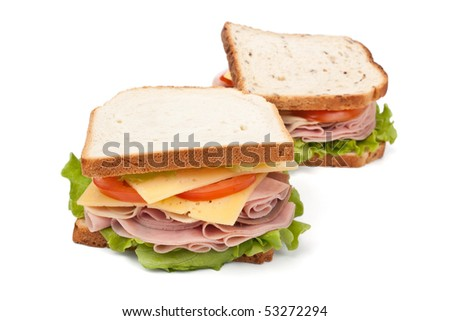 two big tasty sandwiches - stock photo