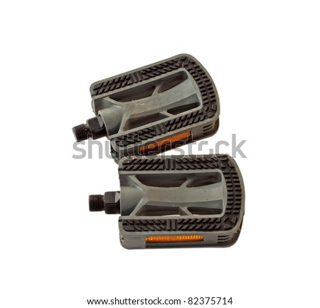 Two bike pedals isolated over white background - stock photo
