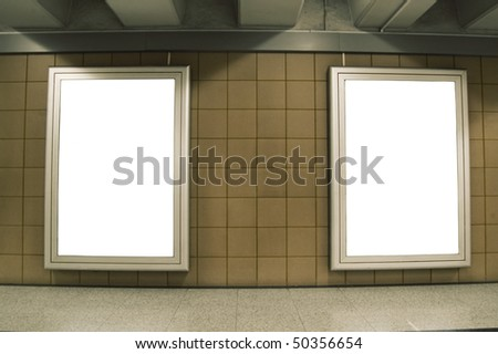 Two Billboards in the underground - stock photo