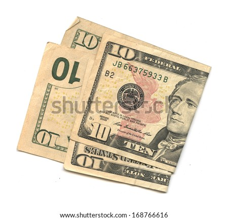 Two $10 Bills (US dollars) on white background - stock photo