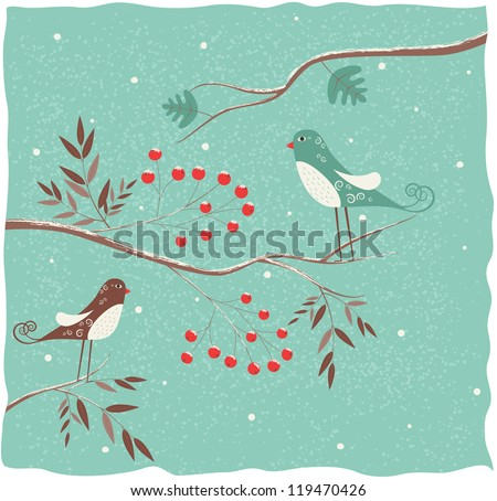 Two birds on the branch. Winter background. - stock photo