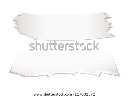 Two bits of torn white paper with shadow with copy space - stock photo