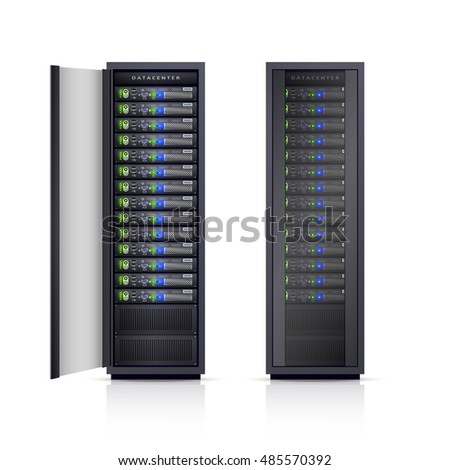 Two black adjustable computer server racks enclosures boxes design icons print realistic isolated  Illustration