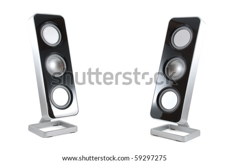 Two black and silver modern speakers tilted towards each other on a white isolated background - stock photo