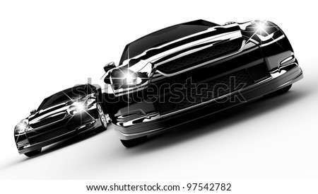 Two black cars run on a white background - stock photo
