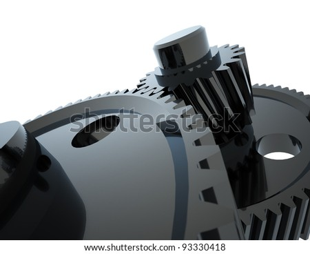 Two black connected gears. - stock photo