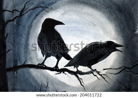 two black crows on a tree branch - stock photo