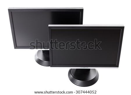 Two black LCD monitor (isolated on white background) top view - stock photo