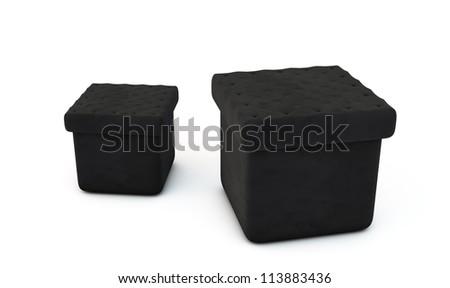 Two Black leather armchair on white blackground - stock photo