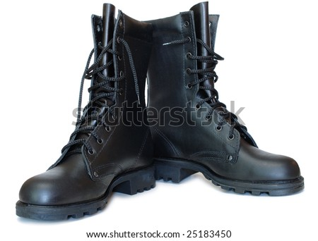 Two black leather army boots on isolated (white) background.