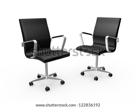 Two black leather boss chairs for office, isolated on white background. - stock photo