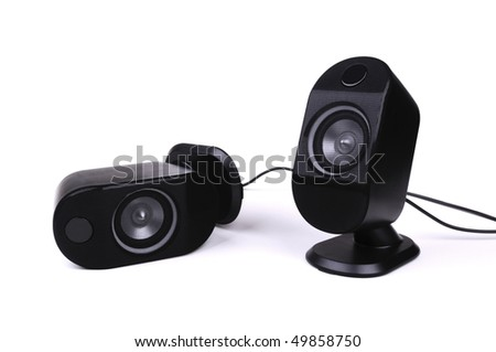 Two black small speakers, beautyful