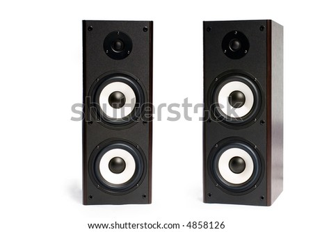 two black speakers on the white background