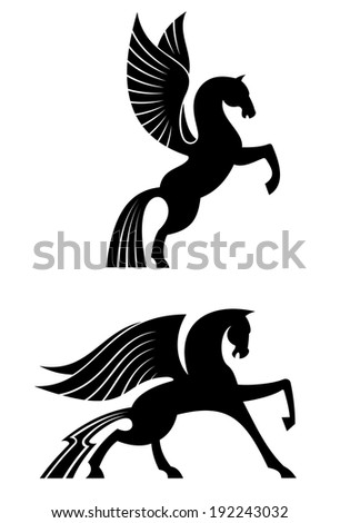 Two black winged horses for heraldry and decoration design. Vector version also available in gallery - stock photo