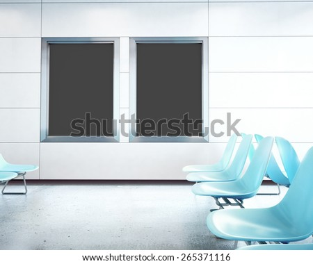 Two Blank Billboards in airport - stock photo
