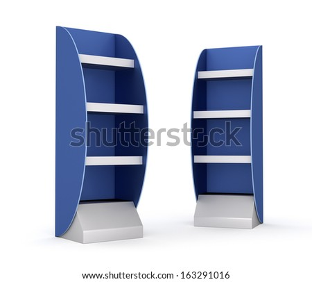two blank blue and gray displays with shelves on white. render - stock photo