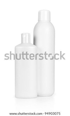 Two blank bottles of shampoo and hair protector products