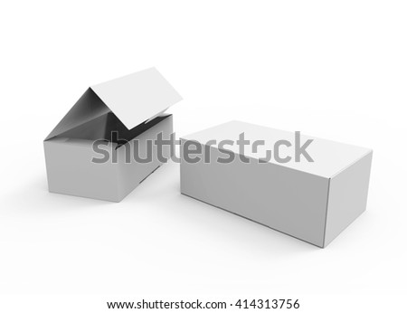 Two Blank boxes for shoes, software and other things. Mockup, 3D illustration - stock photo