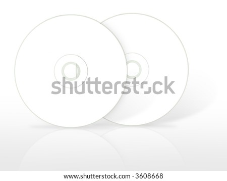 Two blank compact disc. (with clipping path) - stock photo