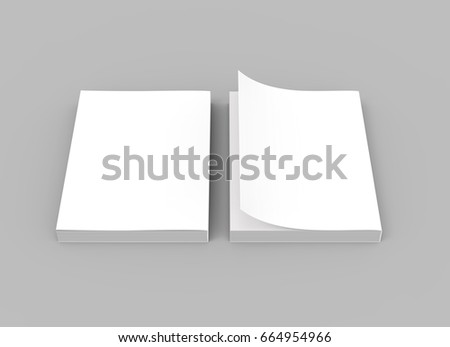 two blank 3d rendering thick books, one page turned, isolated gray background, top view