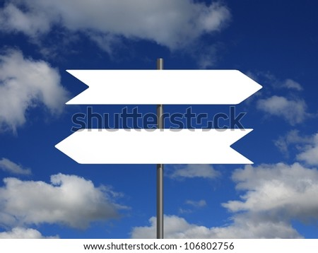 Two blank indicator signs pointing in opposite directions, against a cloudy sky background. - stock photo