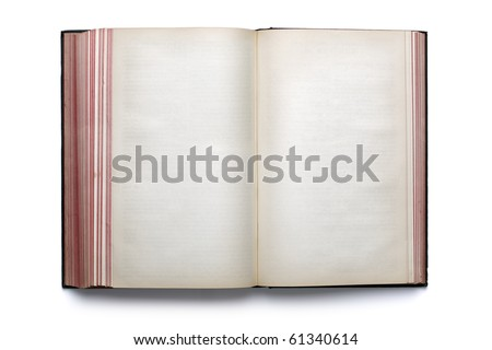 Two blank pages in an old empty hardback book
