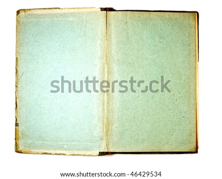 Two blank Pages in ancient Book, on a white background - stock photo