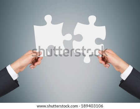 Two blank pieces of puzzle.  - stock photo