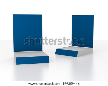 two blank simple product displays in perspective isolated on white