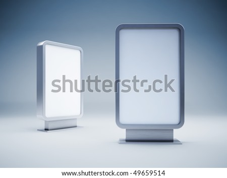 Two blank vertical billboards - stock photo